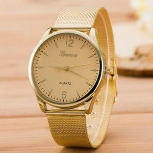 Accessories - Metallic Mesh Strap Analog Watch - Golden